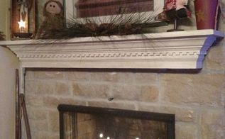 adding a mantel to a stone fireplace adds some real character, concrete masonry, fireplaces mantels, After picture with mantel decorated