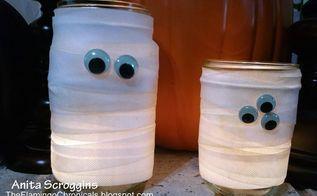 mummy mason jars fun and easy, crafts, halloween decorations, mason jars, seasonal holiday decor