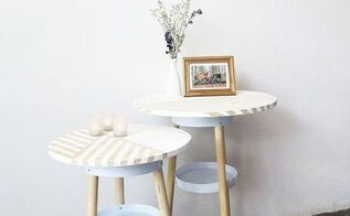 side table made with paint buckets, painted furniture, repurposing upcycling