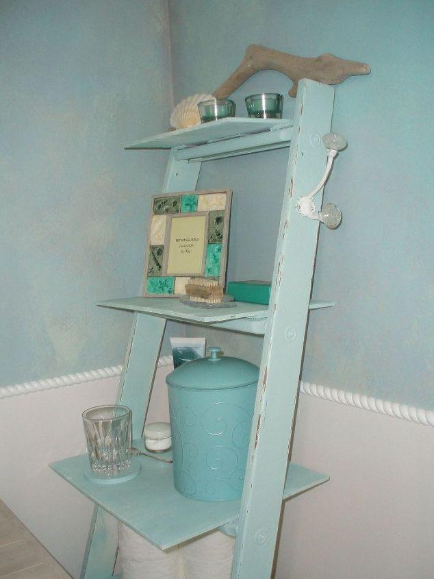 Old ladder new bathroom shelves hometalk for Duck egg blue bathroom ideas