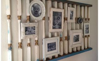 gallery wall from salvage yard to modern photo display, repurposing upcycling, wall decor