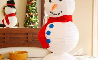 paper lantern snowman craft, crafts, how to, seasonal holiday decor
