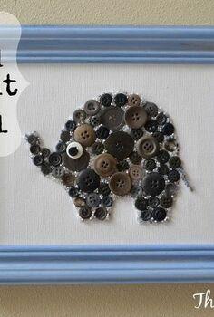 easy diy button and bead elephant nursery wall art, bedroom ideas, crafts, wall decor