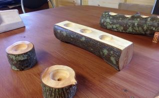 candles from tree trunks, crafts, woodworking projects