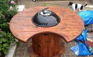 cable drum bbq, diy, outdoor furniture, outdoor living