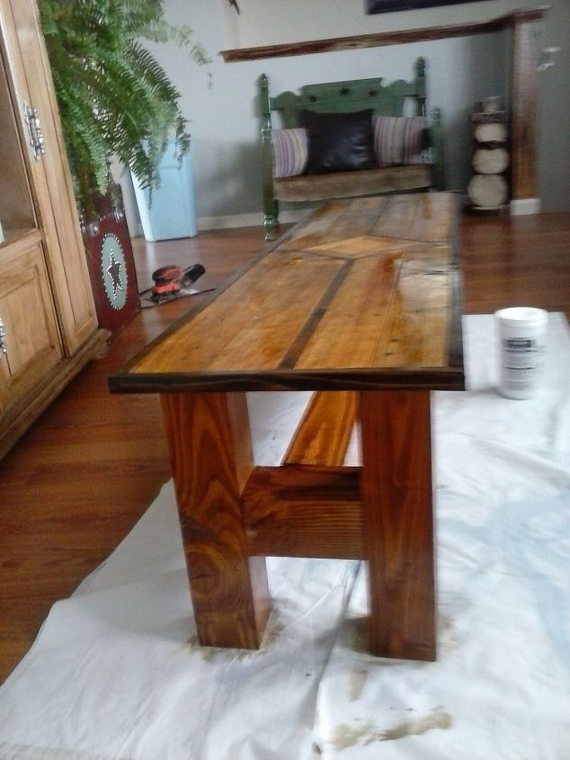 1 pallet 1 4x4 post coffee table hometalk for Coffee tables 4x4