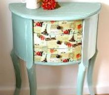 pair of two half moon nightstands got second chance, chalk paint, decoupage, painted furniture