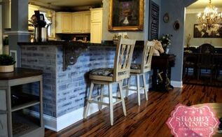 faux bricks update kitchen in under hour cheap, kitchen design, painting, shabby chic
