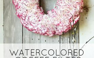 watercolored coffee filter wreath, crafts, seasonal holiday decor, valentines day ideas, wreaths