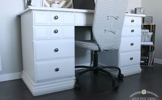 desk makeover with menards chalk paint, chalk paint, painted furniture