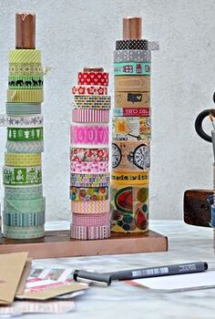diy handy washi tape twine holder, craft rooms, organizing, storage ideas
