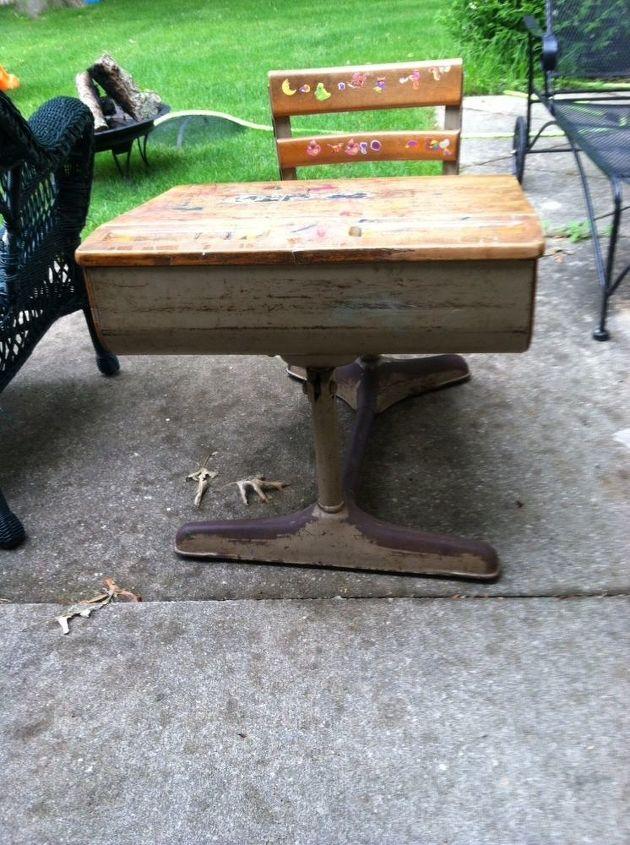 old school desk makeover, painted furniture - Old School Desk Makeover Hometalk