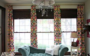 diy office curtains, diy, reupholster, wall decor, window treatments