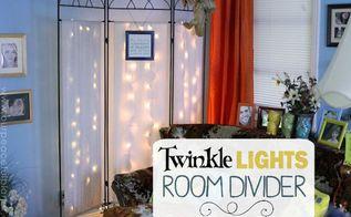 twinkle lights room divider makeover, living room ideas