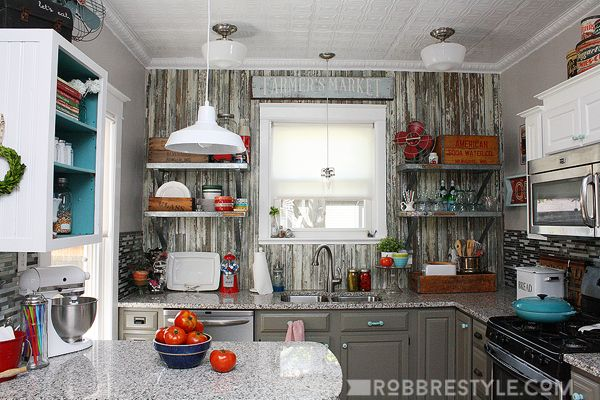 Diy vintage farmhouse kitchen remodel hometalk for Diy small kitchen remodel