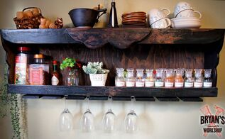 diy wood spice rack with a pallet wine glass holder, pallet, shelving ideas