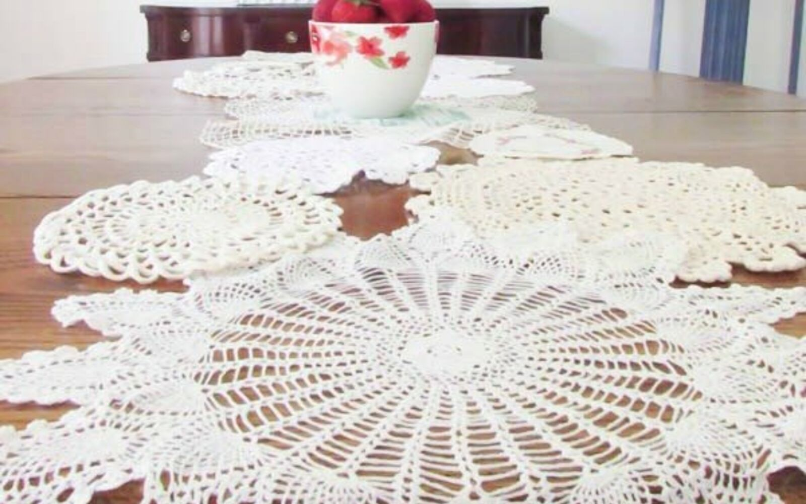 s 13 stunning vintage fabric ideas that ll send you to the thrift store, crafts, repurposing upcycling, reupholster, Vintage Doilies to Table Runner