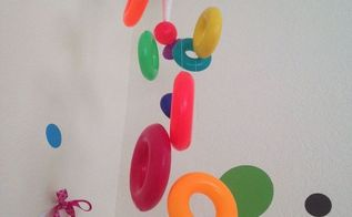 vintage fisher price stacking ring playroom mobile, repurposing upcycling, wall decor