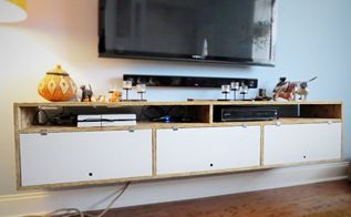 wall mounted tv console, diy, storage ideas, wall decor, woodworking projects