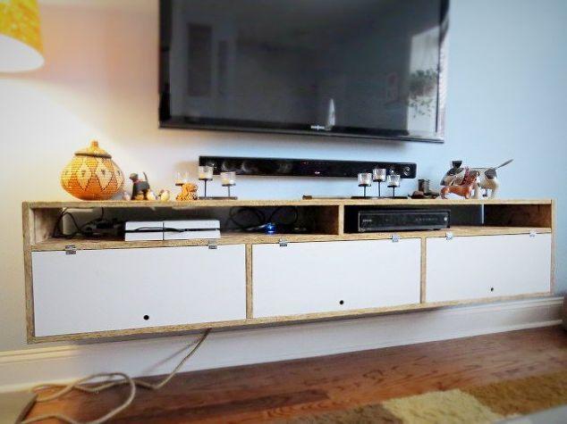 wall mounted tv console, diy, storage ideas, wall decor, woodworking  projects - Wall Mounted TV Console Hometalk