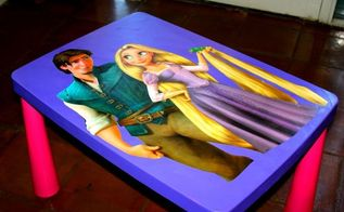 turn a plain table into a fun disney table, decoupage, painted furniture