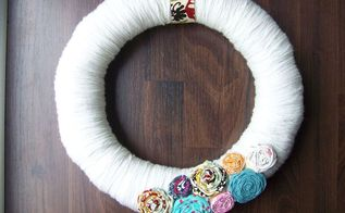 spring fabric flower wreath, crafts, wreaths