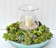 diy succulent candle centerpiece, container gardening, flowers, gardening, succulents