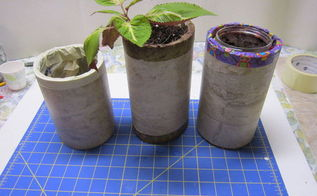 re purposed linoleum to faux stone marble plant pot, container gardening, crafts, gardening, how to, repurposing upcycling