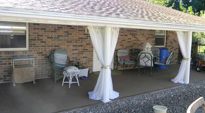 back patio curtains for under $10 | hometalk - Patio Curtains Ideas