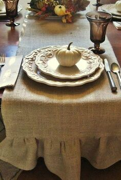 make your own burlap table runner just in time or fall a complete tutorial with, crafts, home decor, I love the rustic simplicity and the texture that it adds to my tablescape