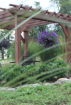 how our farm s little pergola was built, outdoor living, woodworking projects, The view of the pergola from the barn