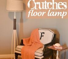 crutches into a floor lamp, lighting, repurposing upcycling