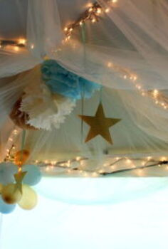 woodland birthday theme, crafts, A DIY play tent was a big hit with the girls