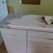 paper bag dresser redo, painted furniture, woodworking projects, Day 1