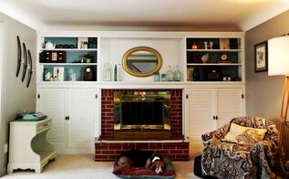 fireplace and built ins before and after, fireplaces mantels, home decor, living room ideas, The repainted and restyled fireplace and built ins