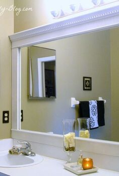 bathroom mirror framed with crown molding, bathroom ideas, home decor, Framed Bathroom Mirror with Crown Molding