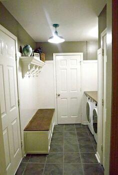 mudroom laundry room update, hardwood floors, laundry rooms, shelving ideas, storage ideas, Finished Mudroom Laundry room with storage bench shelf and laundry shelf