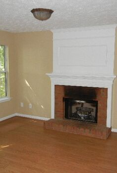 updating a dated brick fireplace with your own two hands, fireplaces mantels, home decor, living room ideas, Family room day one before burnt ugly fireplace