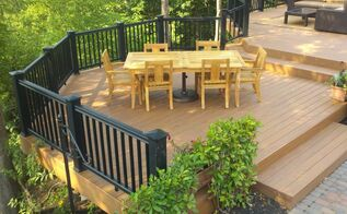 concidering a composite deck deck building trick and tips from our outdoor living, decks, outdoor furniture, outdoor living, patio, Tip Plan your space think of what you might use this part of your deck for In this case we have one level just for the outdoor dining table the are other places for deep seating outdoor furniture chaise lounges and the BBQ