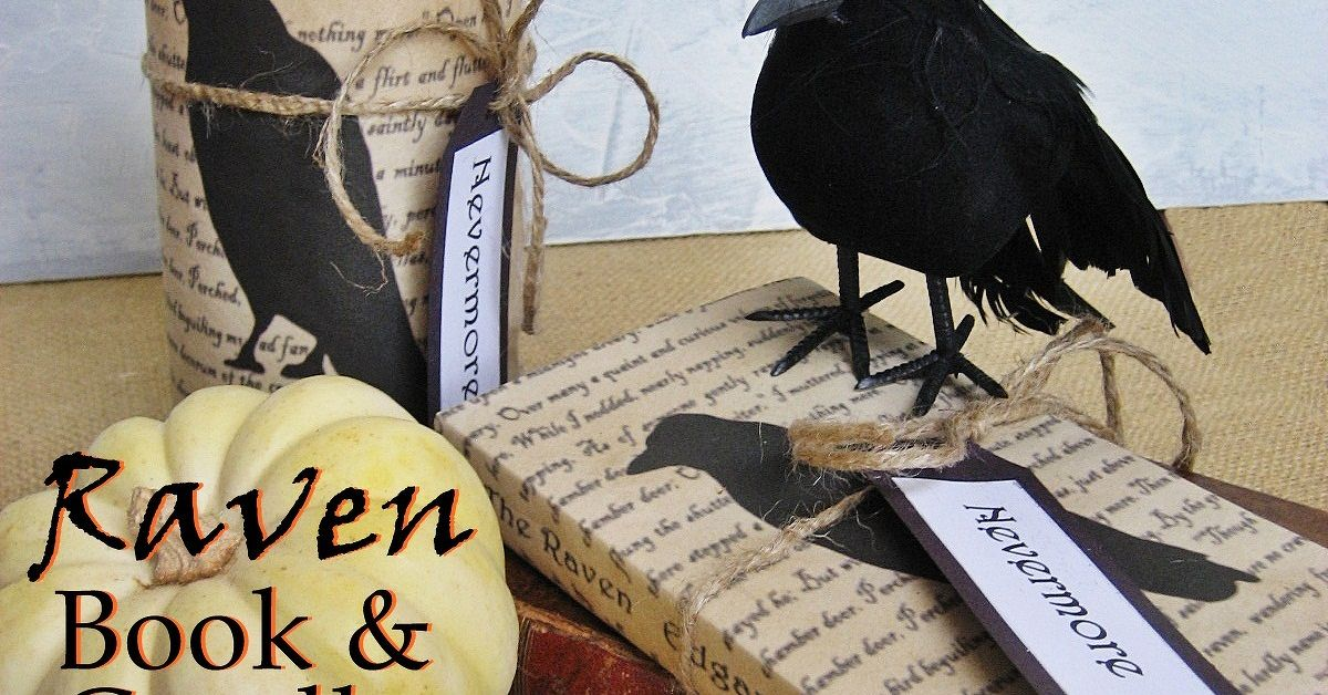 a little literary halloween decorquoth the raven book and candle covers easy tutorial on my blog hometalk - Raven Halloween Decorations