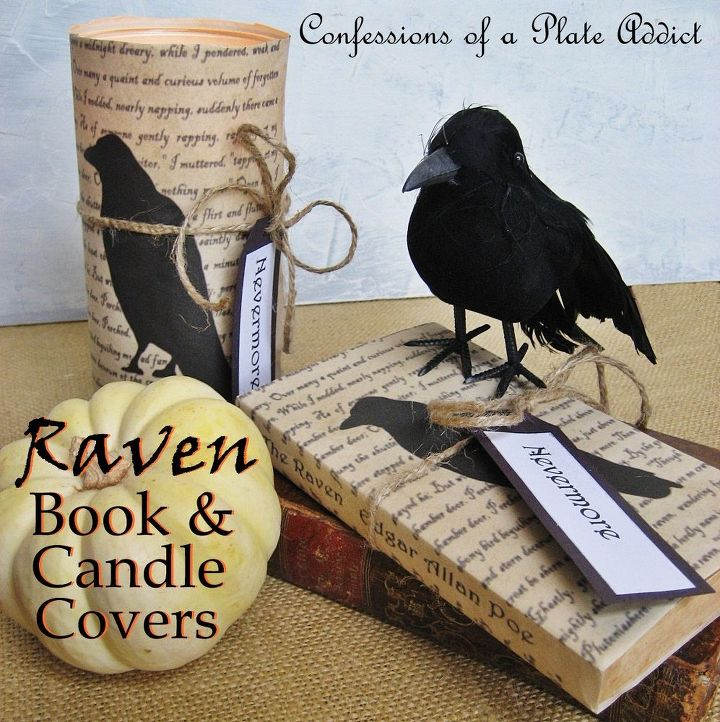 a little literary halloween decor quoth the raven book and candle covers easy crafts - Raven Halloween Decorations