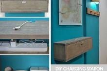 wall mounted diy charging station and shelf combo, organizing, shelving ideas