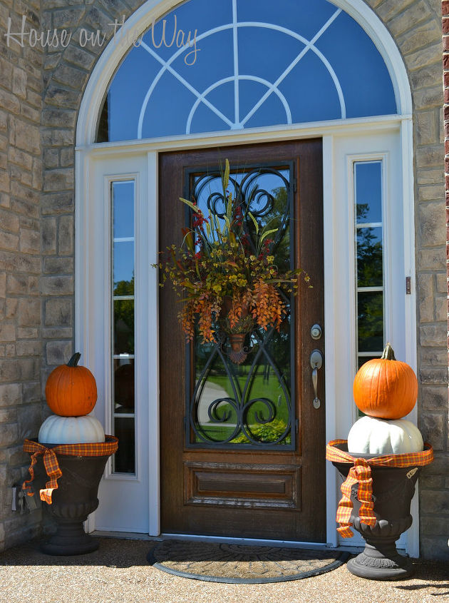 fall front porch decorations doors outdoor living porches seasonal holiday decor - Outdoor Pumpkin Decorations