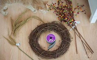 fall wreath grapevine berries easy, crafts, seasonal holiday decor, wreaths