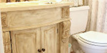 guest bathroom mini remodel, bathroom ideas, home decor, Custom painted french vanity