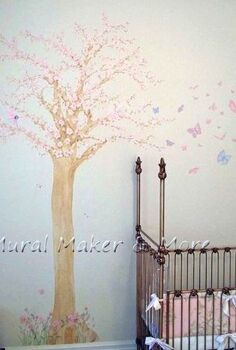 cherry blossom tree mural in baby girl s room, bedroom ideas, home decor