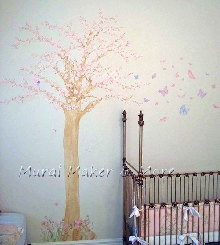 Cherry blossom tree mural in baby girl 39 s room hometalk for Cherry blossom tree mural