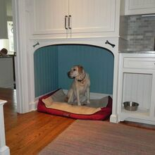 transformations of a new england style home with 21st century embellishments, home decor, There are two dog beds in the mudroom One one either side of the sink Photo is a closeup photo of one of the dog bed Mudroom cabinetry handcrafted in Titus Built LLC s millwork shop located in West Redding CT