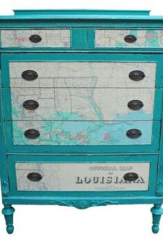 chest of drawers with 1965 map as accents, chalk paint, crafts, decoupage, home decor, painting, This old chest of drawers was in horrible shape The veneer had seen better days a long time ago I first chiseled off the remaining veneer that was the worst on the top