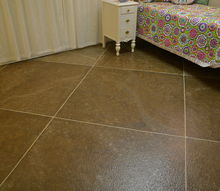 faux tile painted floor, flooring, painting, tile flooring, I used pin striping tape for the lines